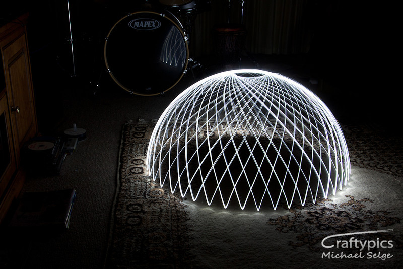 "Proof of Concept ""Light Dome"" photographed in the lounge room"