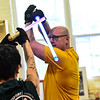 KRISTOPHER RADDER - BRATTLEBORO REFORMER<br /> U.S. Army Capt. Jody Holeton, from Fort Gordon, Ga., blocks a strike from Biz Hallett, the dean of Brattleboro's school of Ludosport, during a training course at Sangha Martial Arts, at 74 Cotton Mill Hill, in Brattleboro on Friday, May 18, 2018.