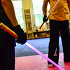 KRISTOPHER RADDER - BRATTLEBORO REFORMER<br /> Biz Hallett, the dean of Brattleboro's school of Ludosport, prepares for the attack during a training course at Sangha Martial Arts, at 74 Cotton Mill Hill, in Brattleboro, on Friday, May 18, 2018.