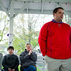 5/3/17 FITCHBURG-- Adam Smedberg of the American Cancer Society speaks to town officials and Relay for Life workers and volunteers about the progress of truthful donations toward the fight against cancer on Wednesday May 3, 2017 at the Upper Common in Fitchburg.  (Sentinel & Enterprise photo/Jeff Porter)