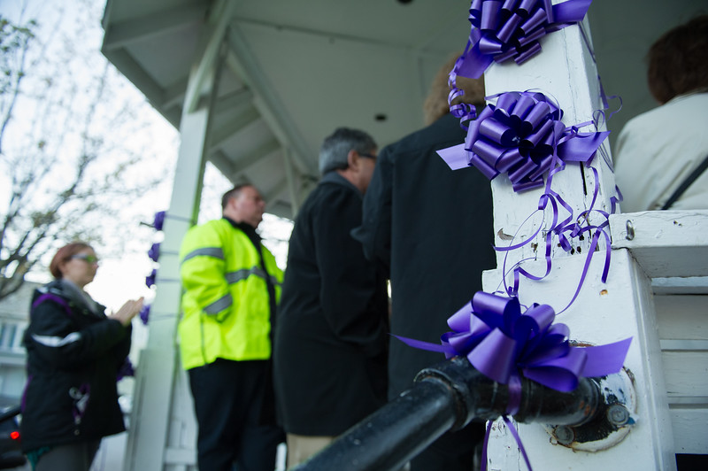5/3/17 FITCHBURG--  Purple ribbons hang on the gazebo at the Upper Common in Fitchburg on Wednesday May 3, 2017 to commemorate those currently struggling or have struggled with cancer.  {Sentinel & Enterprise photo/Jeff Porter)
