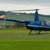 27th September 2009. Robinson R44 G-CBZE arrives at Fife Airport, Glenrothes.