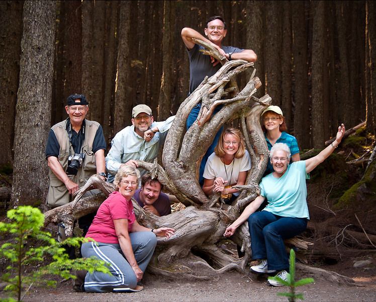 Glacier National Park Tour - July 2012<br /> Left to Right: John Hewitt, Cathryn Ren, John Cunningham (above), Mark Rasmussen (below), Paul Riewerts, Rita Burrows, Mary Anderson (above)-Marti Gaulrapp (below), Alvin Riesbeck (missing)