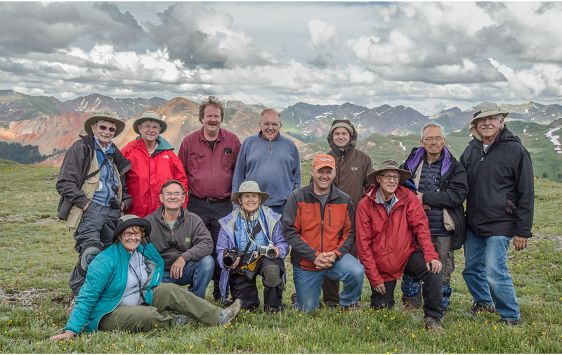 Summit of Black Bear Pass, San Juan Mountains - Colorado Wildflowers - Connie Manchester - July 2015<br /> <br /> Front Row L - R:  Connie Manchester, Paul Riewerts, Lin Croft, Brian Simpson - San Juan Jeep Tours, Mark Gromko<br /> Back Row L - R:   Nancy Varga, Linda Hanley, Mark Rasmussen, Doug Beezley, Dennis Krukover, Cosmas Liu, Mike Mercado
