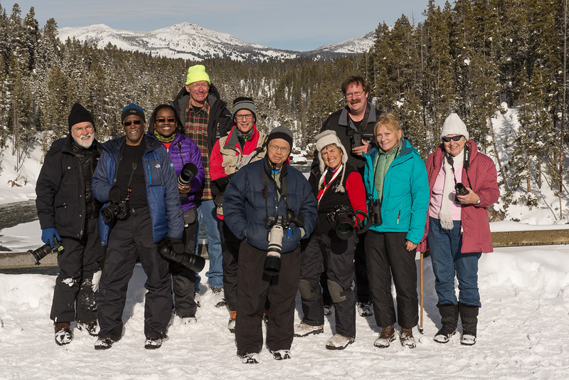 Yellowstone National Park, Wyoming - Mark Gromko - January 2015<br /> <br /> L-R: Jon Ingleman, Michael Kirkland, Andrea Jones, Scott Nagel, Mark Gromko, Cosmas Liu, Lin Craft, Mark Rasmussen, Judy Ingleman, <br />         Helen Zenisek