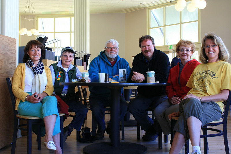 Last Breakfast - Yellowstone National Park, Wyoming - Rita Burrows - June 2014 <br /> <br /> L to R - Jenni Moncrieff, Nancy Varga, Grizzley Joe, Mark Rasmussen. Mary Anderson, Rita Burrows