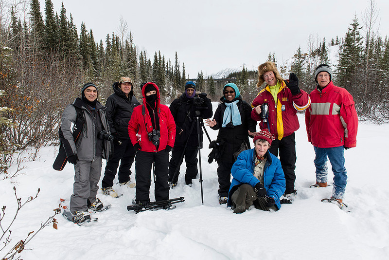 Alaska and Northern Lights Tour Group in Denali National Park - March 2013 - Mark Gromko<br /> <br /> From L - R: Rafiq Walimohamed, Robert Hutson, Pam Elliott, Michael Kirkland, Andrea Jones, Nancy Vargas, Bobby Lorry, Mark Gromko