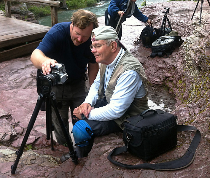 "Mark Rasmussen and ""Smilin"" John Hewitt reviewing the shot - Glacier National Park, Montana, July 2012"