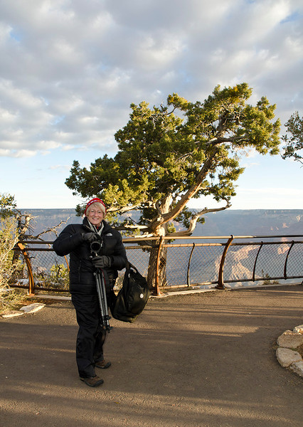 Sandy Reed on the south rim of the Grand Canyon - Southern Utah Tour - November 2011