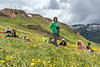 """Wildflowers"" in the Wildflowers, Saddle of Red Mountain #3, San Juan Mountains, Colorado - Colorado Wildflowers - Doug Beezley - July 2015<br /> <br /> L - R:  Jenny Cummings, Krystal Jacob, Emily Jacob, Sue Cole (standing), Sandy Reed, Kris Sprik"