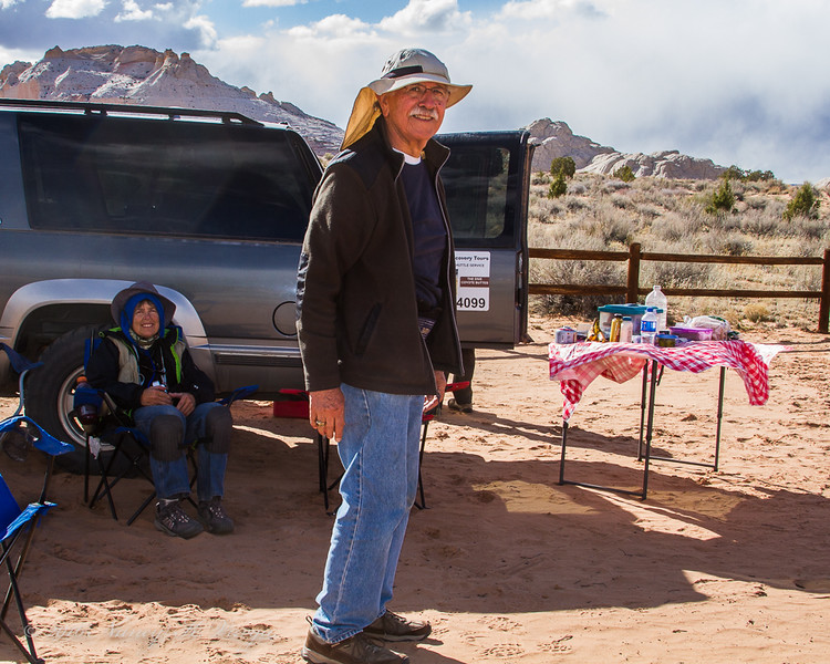 Lin Craft and Mike Mercado at Lunch Break - White Pocket, Vermillion Cliffs National Monument, Arizona - Nancy Varga - March 2016