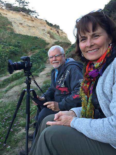 "Sue Cole & Joe Maciejko at Cape Kiwanda - Cape Kiwanda State Natural Area, Oregon - Chris ""Sea Rider"" Sprik - June 2017"