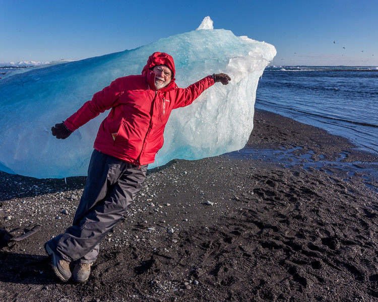 Joe Maciejko trying to fight the strong electromagnetic field in Iceland - Jokulsarlon Iceberg Beach, Iceland - Mark Rasmussen - February 2015