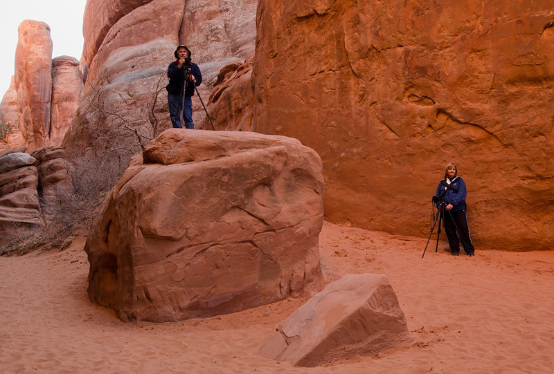 Mike Mercado & Karen Stone at Arches National Park - Eastern Utah Tour - January 2012