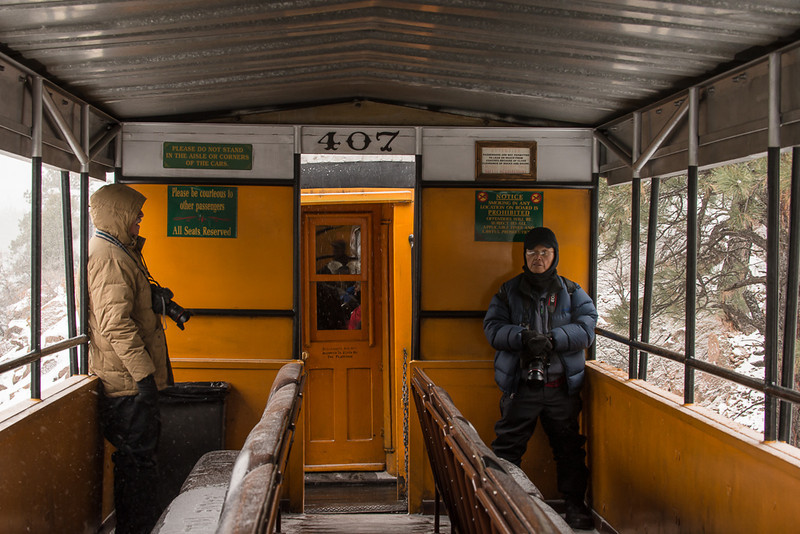 "Mike Mercade (Left) and Cosmas Liu (Right) on a ""warm"" Winter Train Ride - Great Sand Dunes, Durango-Silverton ""Polar Express Train"" and Winter Eastern Utah - Mark Gromko - December 2013"
