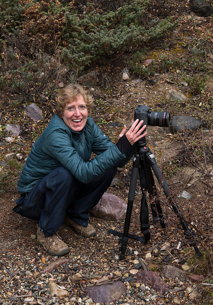 Beth Jakob, reunited with her tripod, at Sunwapta Falls - Fall Canadian Rockies - Mark Gromko - October 2014