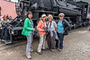 Sue Cole, Chris Sprik, Cathy Ren and Sandy Reed with the Durango and Silverton Narrow Gauge Railroad engine in Silverton, Colorado - Colorado Wildflowers - Doug Beezley - July 2015