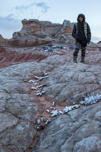 Nancy Varga Bundled Up - White Pocket, Vermillion Cliffs National Monument, Arizona - Nancy Varga - March 2016