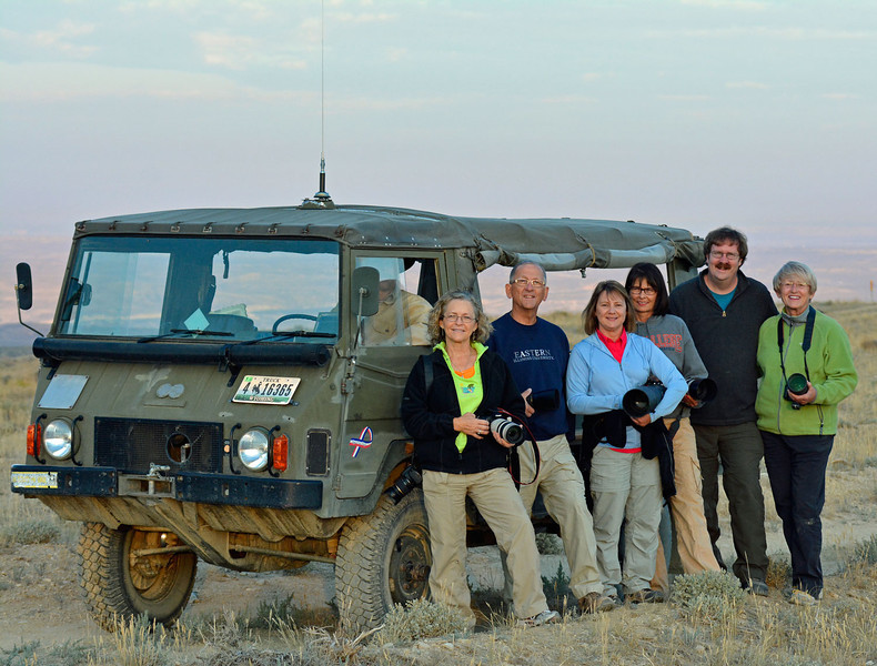 "The Ride From Hell (The ""Pinzgauer) - Wild Horse Tour, Green River, Wyoming - Doug Beezley - August 2013<br /> <br />  L-R: Rich Nobler (driver and guide), Chris Sprik, Roger Luft, Jenny Cummings, Sue Cole, Mark Rasmussen, Sandy Reed"