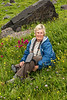 Cathy Ren on the Black Bear Pass road, San Juan Mountains - Colorado Wildflowers - Doug Beezley - July 2015