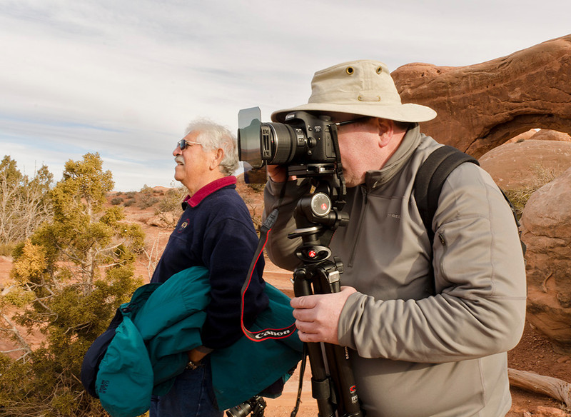 Mike Mercado and David Smith at Arches National Park, Utah - Eastern Utah Tour - January 2012