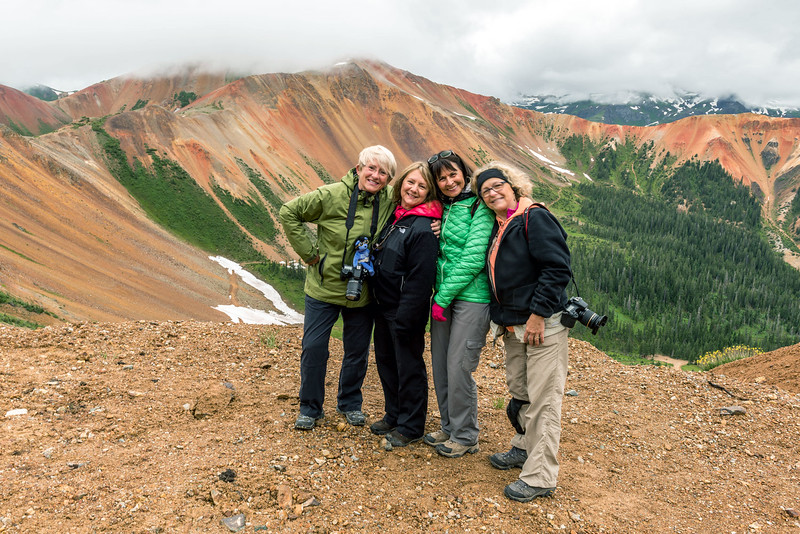 "Michigan ""Fab Four"" at Hurricane Pass, San Juan Mountains, Colorado - Colorado Wildflowers - Doug Beezley - July 2015<br /> <br /> L-R: Sandy Reed, Jenny Cummings, Sue Cole, Chris Sprik"