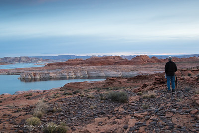 """Desert Rat"" Mike Mercado Taking in the Scene - Lake Powell National Recreation Area, Utah - Nancy Varga  - March 2016"