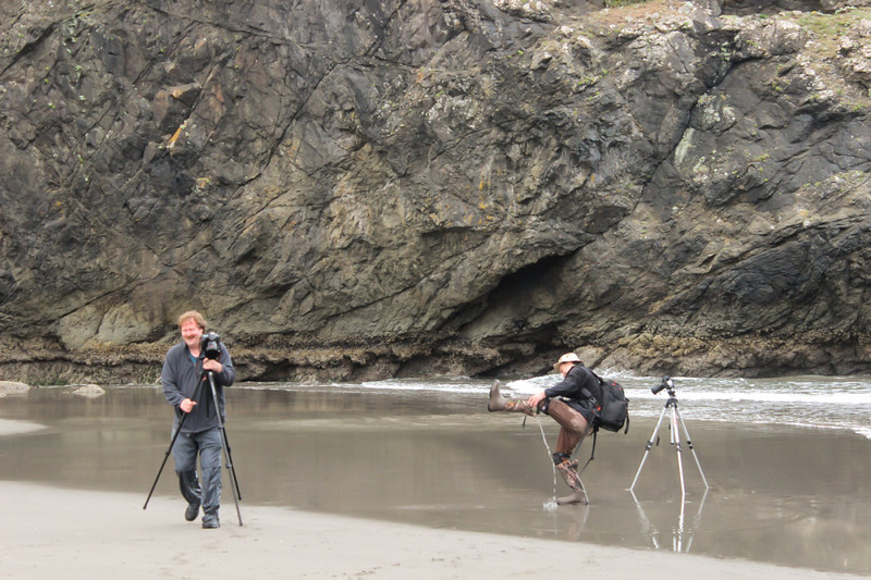 Dennis Krukover entertaining Mark Rasmussen with a Ukraine folk dance also known as getting the water out of your boots - Meyer Creek Beach, Oregon - Oregon Coast Tour - June 2013