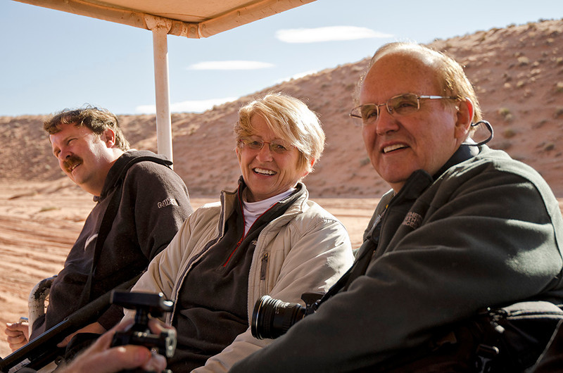 Mark Rasmussen, Sandy Reed, & Doug Beezley enroute to Upper Antelope Canyon - Southern Utah Tour - November 2011