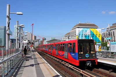 DLR 23+24+28 with a Beckton service at East India on the 13th June 2017