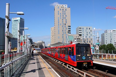 DLR 99+70+69 with a service to Beckton at Blackwall on the 13th June 2017