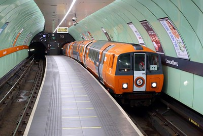 Glasgow Subway train No  109 leads an Inner service at Cowcaddens on 1 October 2020  GlasgowSubway