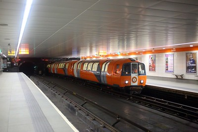 108 with an Outer circle service on the Glasgow Subway at Govan on the 22nd August 2018