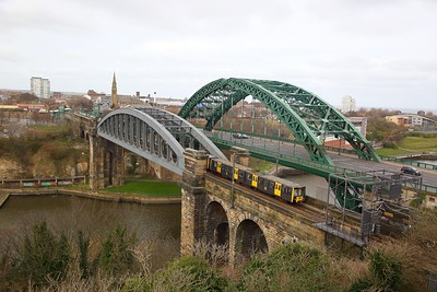 Tyne and Wear Metrocars Nos  4070+4026 working 2I01 1440 Airport Newcastle to South Hylton arriving into Sunderland on the 21st March 2020
