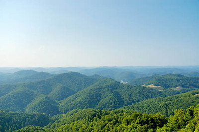 Stock image of a view of the rolling green hills of the Cumberland Mountains of eastern Kentucky USA as seen from top of Pine Mountain.
