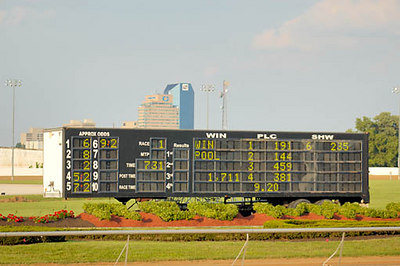 Stock image of the scoreboard at the annual quarter horse races at the Red Mile track in Lexington, Kentucky, USA
