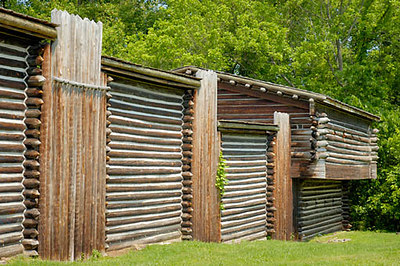 Stock image of exterior wall with blockhouse at Fort Boonesborough, Kentucky, USA