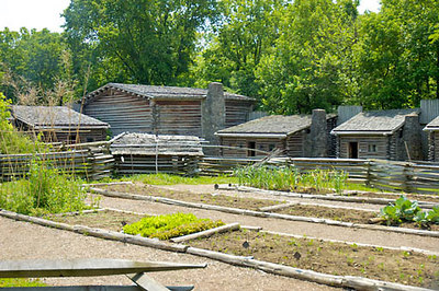 Stock image of interior pioneer dwellings and vegetable garden at Fort Boonesborough, Kentucky, USA