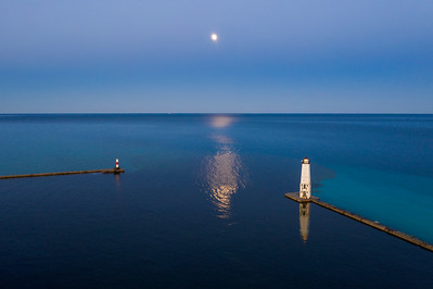 Dawn at Frankfort Lighthouse Aerial