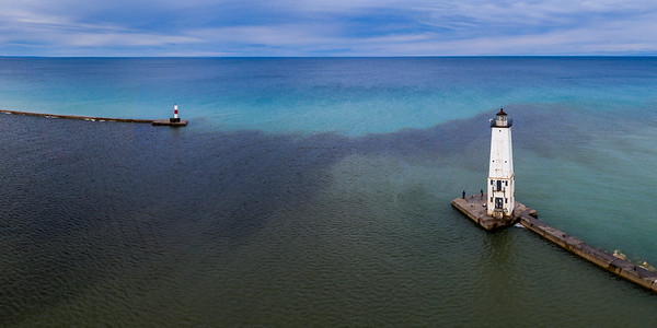 Frankfort Lighthouse and Breakwall Aerial