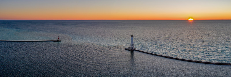 Frankfort Lighthouse Aerial Sunset Panorama