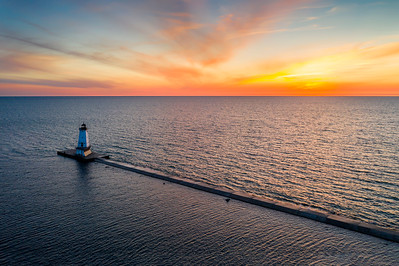 Ludington Lighthouse Aerial Sunset