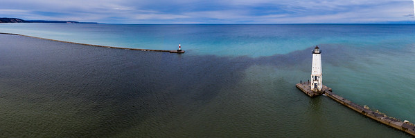 Frankfort Lighthouse from Sky Panorama