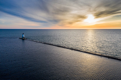 Spring Sunset in Ludington Aerial