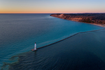 Frankfort Lighthouse and SHoreline Aerial