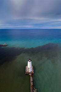 Frankfort Lighthouse Aerial Vertical