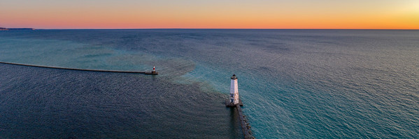 Sunset and Lighthouse Aerial Panorama