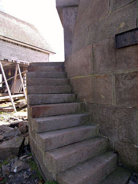 The stairs to the entryway to the tower.