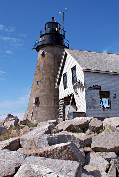 The original light on the Rock was a wooden tower built in 1830.  It was replaced by the stone granite tower in 1847.