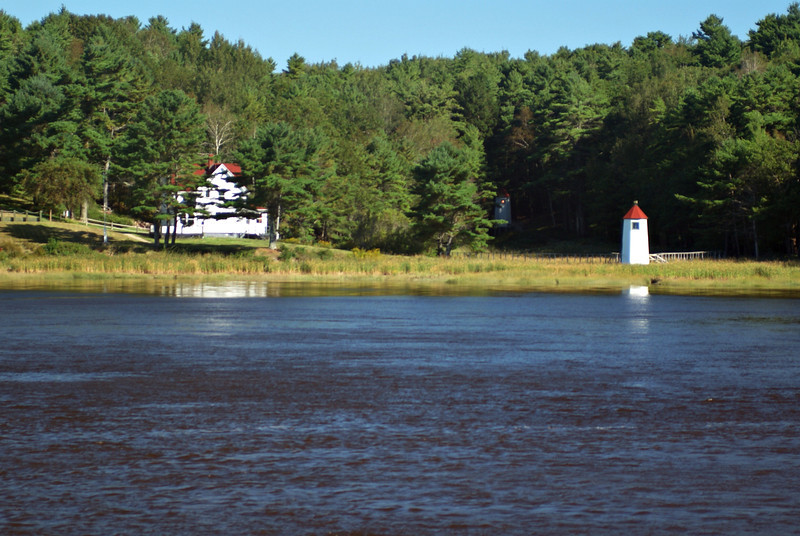 Kennebec River Range Lights, the rear light is back in the woods and the light is on.